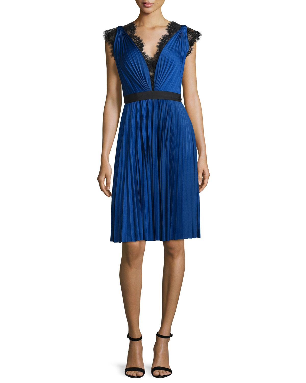 Lace-Trim Pleated Jersey Dress, Cobalt