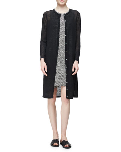 Crepe-Knit Button-Front Long Cardigan, Black
