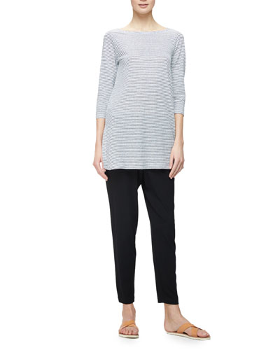 Organic Linen Skinny-Striped Top, White/Black