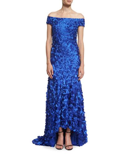 Off-The-Shoulder Petal-Appliqué Gown, Cobalt