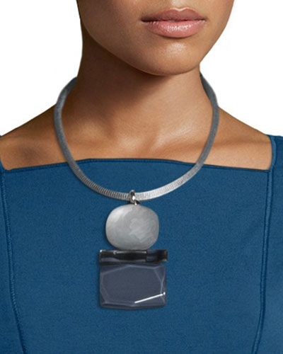 Triple-Drop Pendant Necklace, Storm Multi