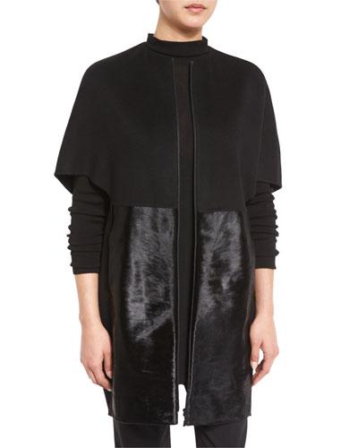 Makayla Cape-Sleeve Coat w/ Calf-Hair Panels, Black