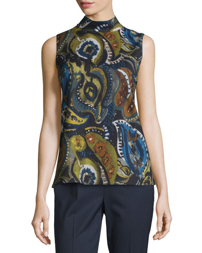 Fernanda Sleeveless Mock-Neck Printed Blouse, Galaxy Blue Multi