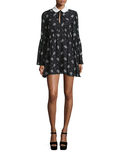 Lily Long-Sleeve Printed Mini Dress, Black/Ivory