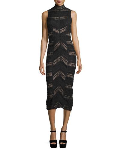 Nile Turtleneck Midi Dress, Black