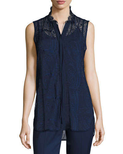 Annetta Sleeveless Tie-Neck Lace Blouse, Galaxy Blue