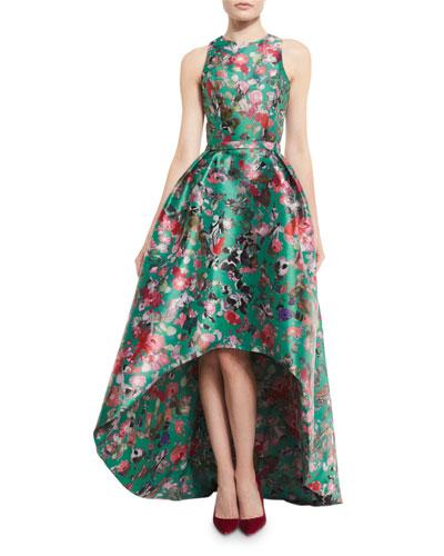 Sleeveless Floral Mikado High-Low Gown, Malachite