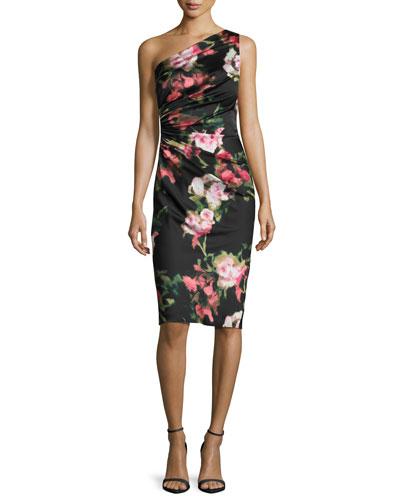 One-Shoulder Floral Jersey Cocktail Dress, Black/Pink