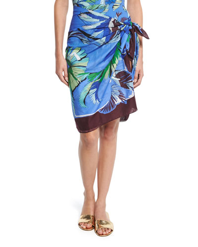 Jungle-Print Voile Pareo Coverup