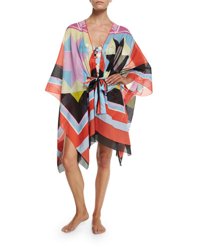 Monreale Print Belted Caftan Coverup