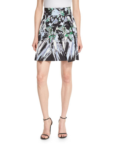 Kayla Painterly Floral-Print Miniskirt, Black Multi