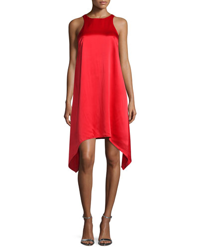 Sleeveless Jewel-Neck Trapeze Dress, Red