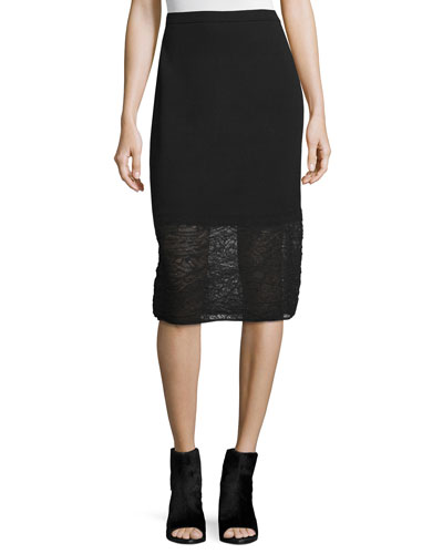Needle-Punched Lace Pencil Skirt