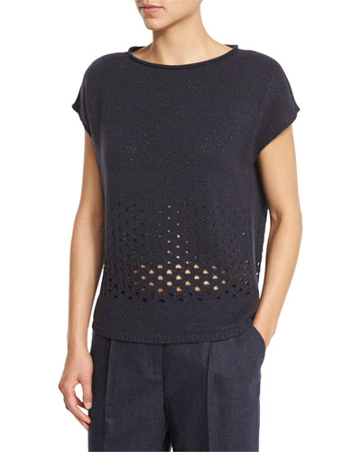 Short-Sleeve Metallic Eyelet Sweater, Ink Metallic