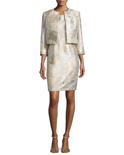 Sleeveless Marble Sheath Dress w/ Jacket, Gold Sand