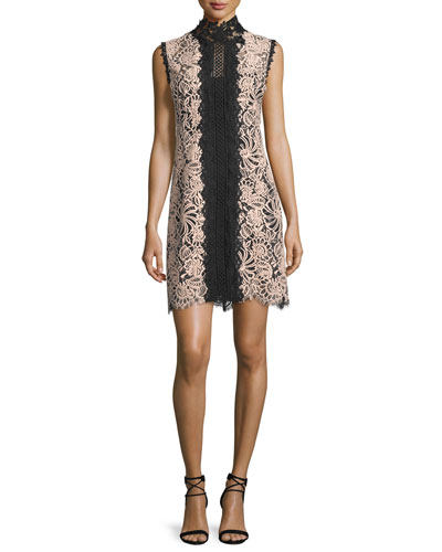 Sleeveless Lace Colorblock Mini Dress, Desert Rose