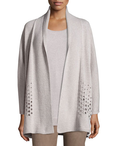 Oversized Open Metallic Eyelet Cardigan, Luxor Metallic