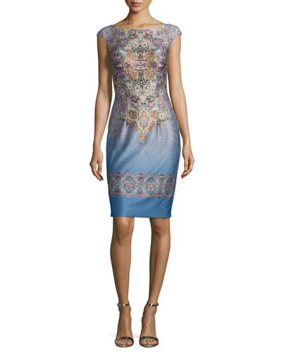 Cap-Sleeve Embellished Cocktail Dress, Multi Colors