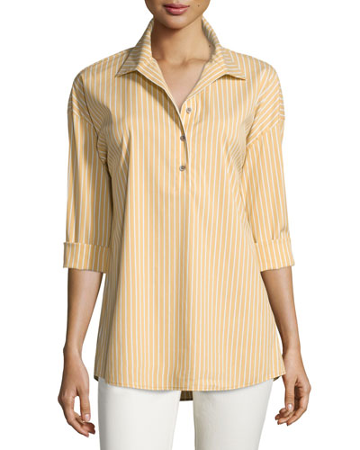 Franca Striped Long-Sleeve Half-Button Blouse, Chamomile Multi