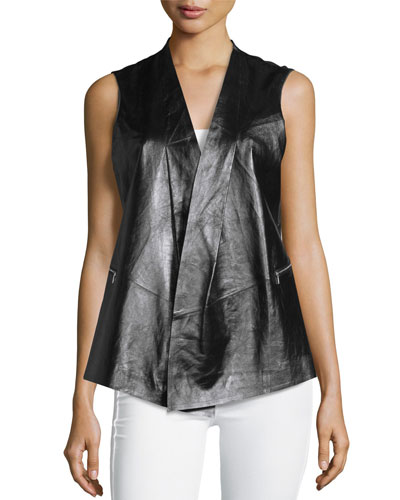 Yoko Contrast-Back Leather Vest, Black