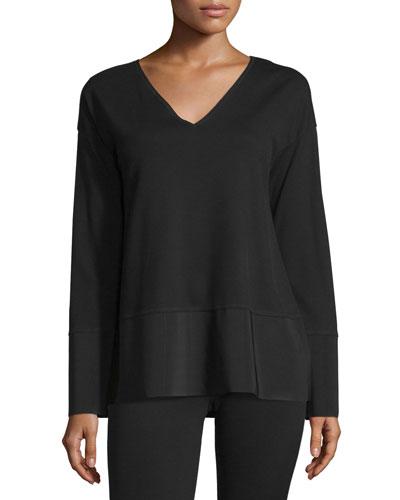 Long-Sleeve Knit V-Neck Top w/ Polished Tech Hem, Black