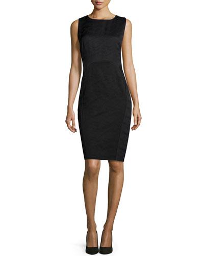 Dixie Jacquard Sleeveless Sheath Dress, Black