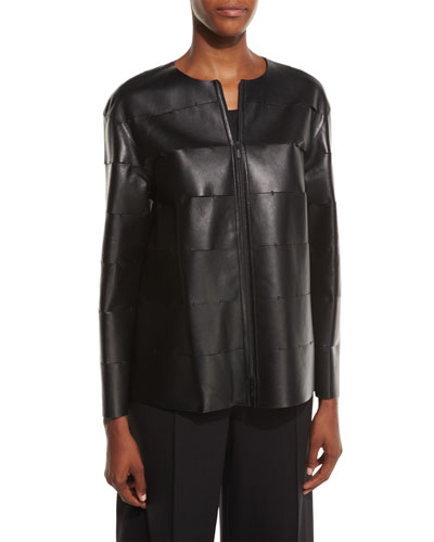 Murphy Zip-Front Leather Jacket, Black