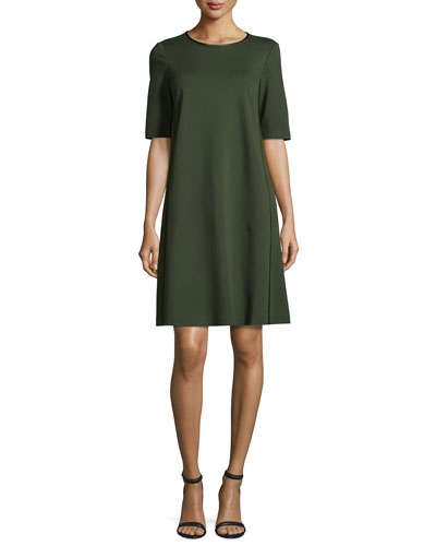 Charmeuse-Trimmed Half-Sleeve Shift Dress, Vineyard
