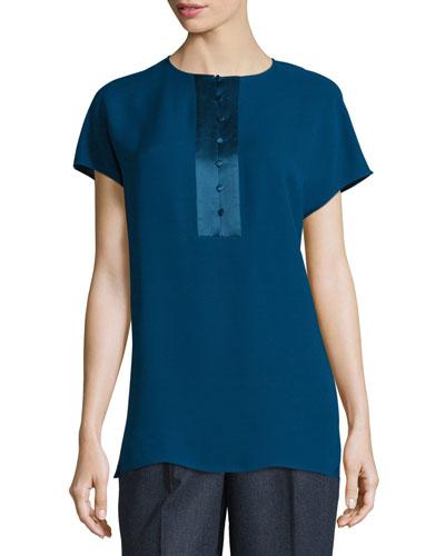 Azalea Short-Sleeve Half-Placket Silk Blouse, Aegean