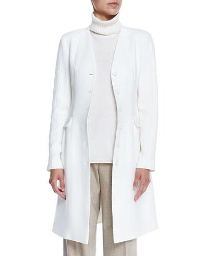 Royce V-Neck A-Line Wool Jacket, Cloud