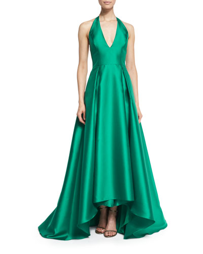 Satin Halter Ball Gown, Emerald