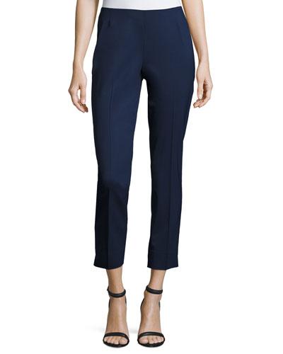 Stanton Straight-Leg Ankle Pants, Galaxy Blue