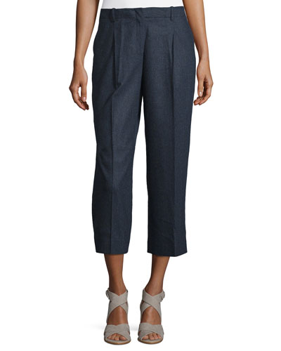 Rivington Cropped Straight-Leg Wool-Blend Pants, Ink Melange