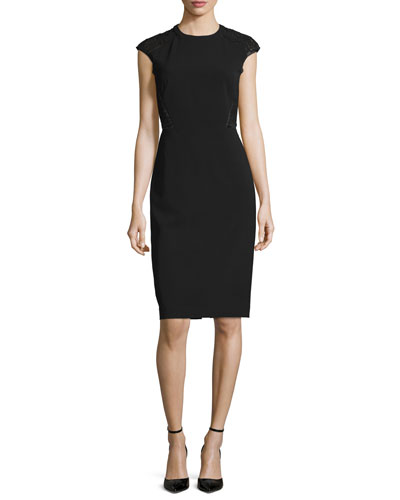 Cap-Sleeve Talon Sheath Dress w/ Lace Back, Black