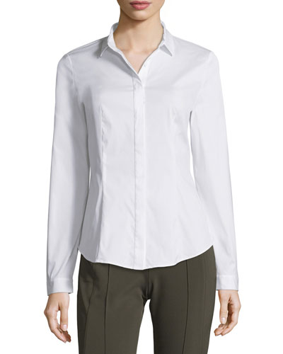 Frieda Button-Front Stretch-Cotton Blouse, White