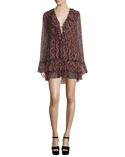 Jasmine Floral-Print Mini Dress, Red/Multi