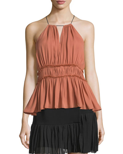 Lotus Halter-Neck Peplum Top
