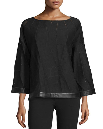 Relaxed Patterned Cropped Blouse, Black