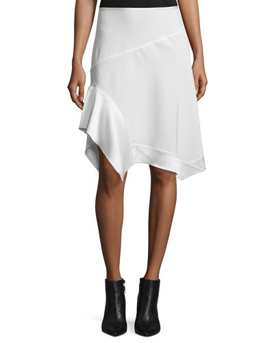 Paneled Asymmetric Crepe Skirt, Chalk