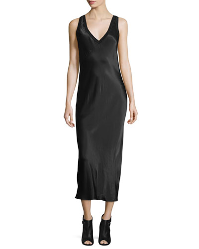 Sleeveless V-Neck Midi Dress, Black