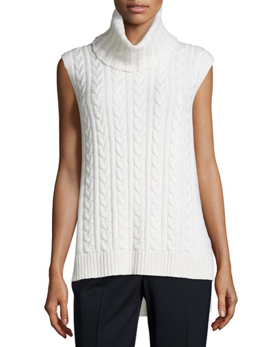 Cashmere Cable-Knit Sweater, Cloud