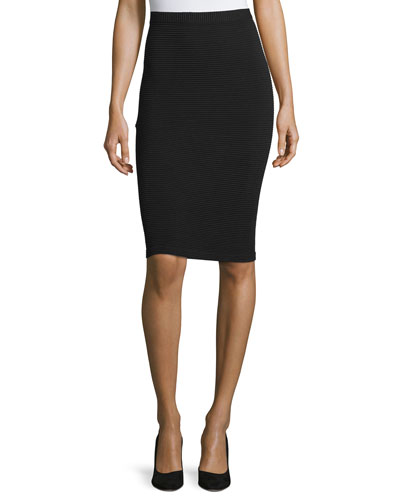Ottoman-Stitch Slim Skirt, Black