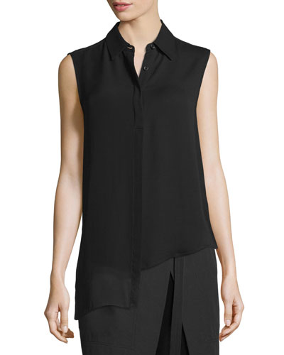 Sleeveless Asymmetric Chiffon Top, Black