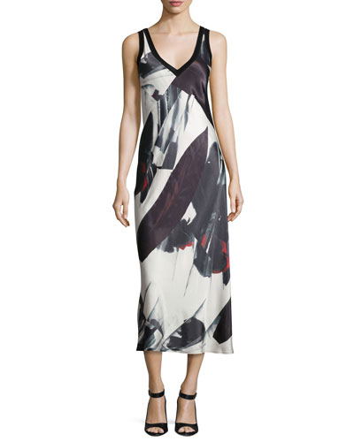 Sleeveless Printed V-Neck Midi Dress, Black/White