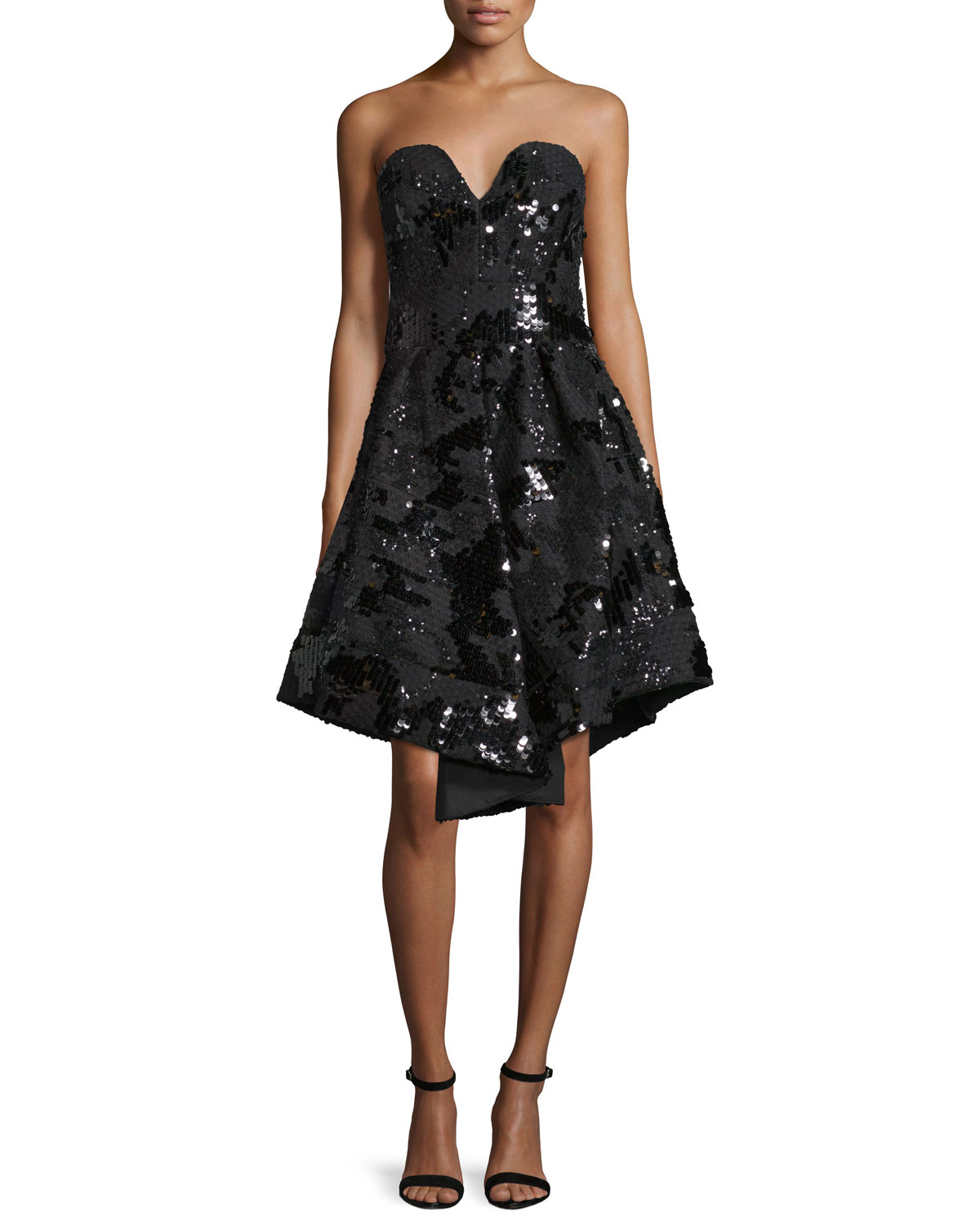 Strapless Sequined Cocktail Dress, Black
