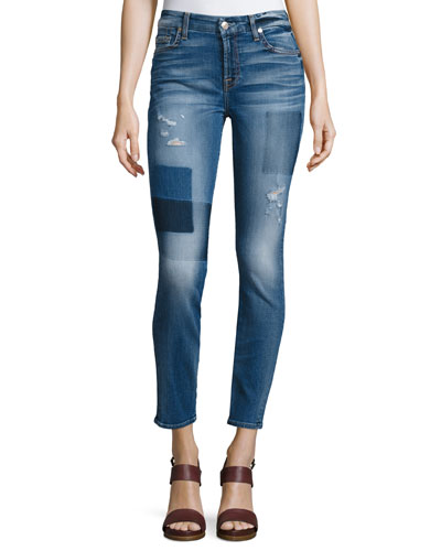 The Ankle Skinny Patch Distressed Jeans, Blue