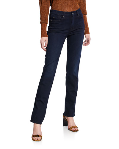 Kimmie Straight-Leg Jeans, Blue Black River