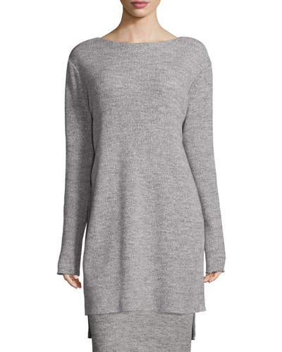Ribbed Bateau-Neck Tunic, Heather Gray