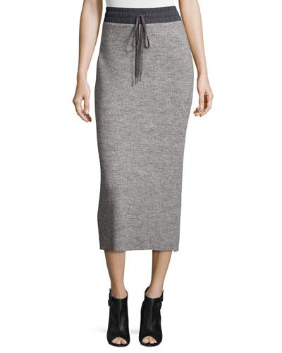 Ribbed Drawstring Midi Skirt, Heather Gray