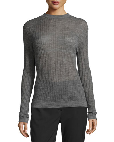 Long-Sleeve Sheer Ribbed Pullover Sweater, Charcoal